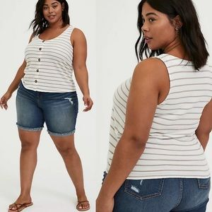 Torrid | Stripe Button Tank Top French Terry